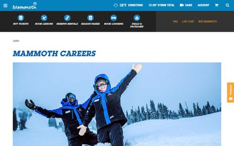 Screenshot of Jobs Page mammothmountain.com - Jobs, Careers & Employment | Apply Online Today | Mammoth Mountain - captured Feb. 15, 2019