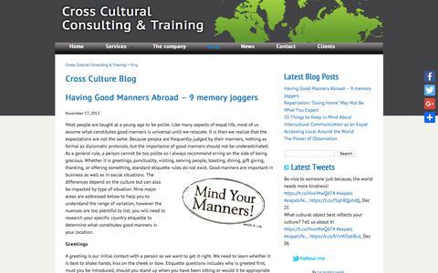 Screenshot of Blog crossculture-training.be - Blog   Cross Cultural Consulting & Training - captured Oct. 11, 2017