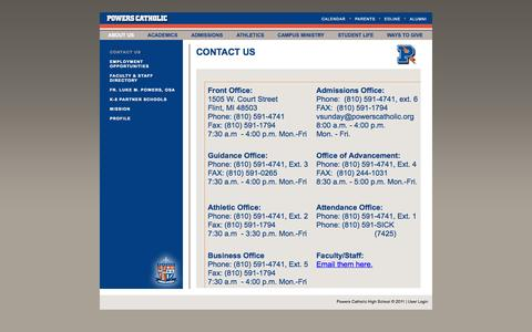 Screenshot of Contact Page powerscatholic.org - Flint Powers | About | Contact Us - captured Oct. 2, 2014