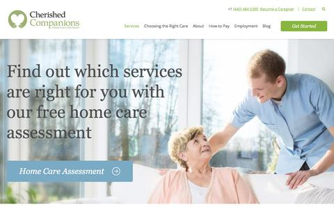 Screenshot of Services Page cherishedagency.com - In-Home Elderly Care & Senior Companion Care Services - captured Sept. 24, 2018