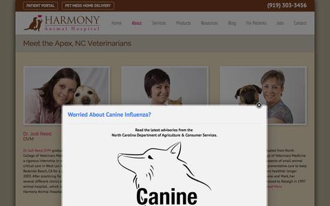 Screenshot of About Page harmonyanimalhospital.net - Apex, NC Veterinarians | Harmony Animal Hospital - captured July 19, 2015