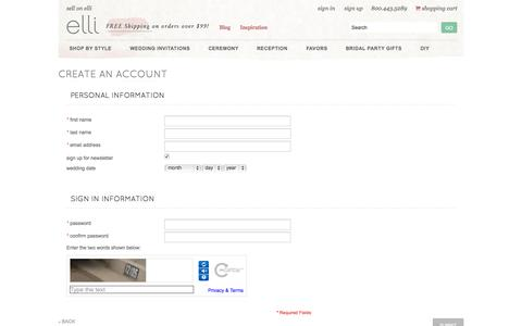 Screenshot of Signup Page elli.com - Create New Customer Account - captured June 16, 2015
