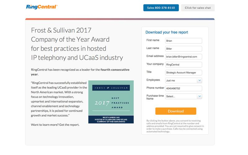 Frost & Sullivan 2017 Company of the Year Award for best practices in hosted IP telephony and UCaaS industry