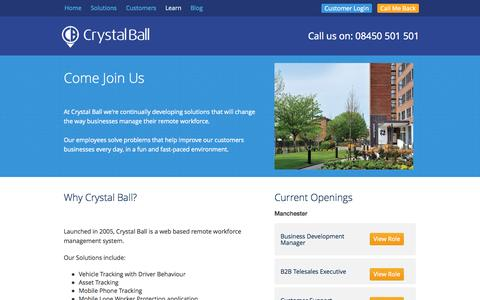 Screenshot of Jobs Page crystalball.tv - Careers at Crystal Ball - captured Oct. 3, 2014