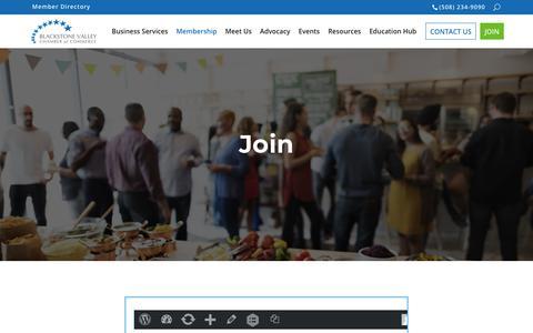 Screenshot of Signup Page blackstonevalley.org - Join the Chamber! | Blackstone Valley Chamber of Commerce - captured Nov. 13, 2018