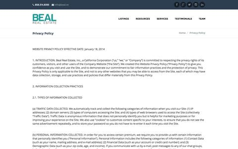 Screenshot of Privacy Page bealre.com - Privacy Policy | Beal Real Estate - captured Oct. 5, 2014