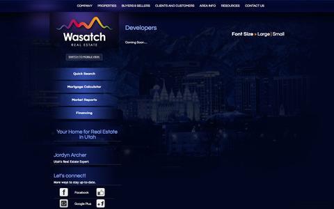 Screenshot of Developers Page wasatchrealestate.com - Developers - captured Sept. 30, 2014