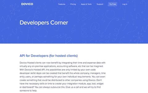 Screenshot of Developers Page dovico.com - DOVICO - Developers - captured Sept. 23, 2017