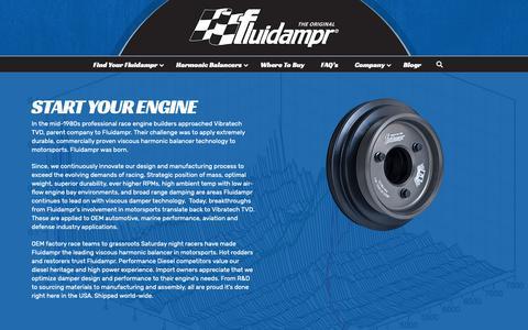 Screenshot of About Page fluidampr.com - About Fluidampr and Parent Company Vibratech TVD • The Original Fluidampr - captured Nov. 6, 2018
