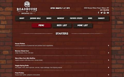 Screenshot of Menu Page qjacksonhole.com - Menu - Q Roadhouse & Brewing Company - captured June 15, 2016