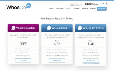 Screenshot of Pricing Page whoson.com - Affordable live chat | WhosOn pricing - captured July 15, 2019