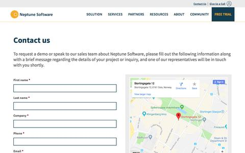 Screenshot of Contact Page neptune-software.com - Contact Us | Neptune Software - captured Feb. 2, 2018