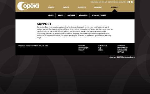 Screenshot of Support Page edmontonopera.com - Support | Edmonton Opera - captured Oct. 2, 2014