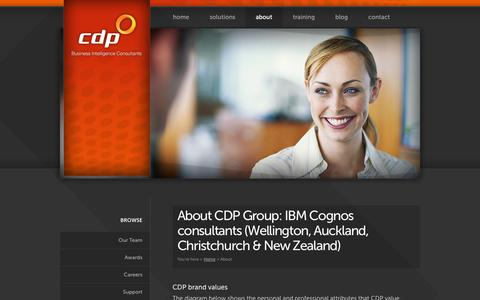 Screenshot of About Page cdp.co.nz - About - Business Intelligence — New Zealand Business Intelligence (Wellington, Auckland & Christchurch) | CDP - captured Oct. 1, 2014