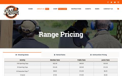 Screenshot of Pricing Page mishoot.com - Range Rates - Michigan Shooting Centers | Island Lake and Bald Mountain Shooting Ranges - captured Oct. 18, 2018