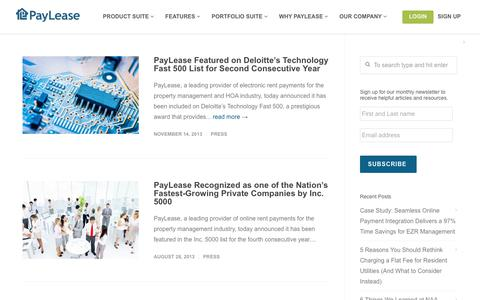 Screenshot of Press Page paylease.com - Press | PayLease - Part 5 - captured Aug. 4, 2018