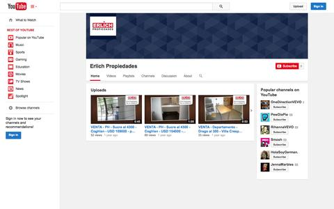 Screenshot of YouTube Page youtube.com - Erlich Propiedades  - YouTube - captured Oct. 22, 2014