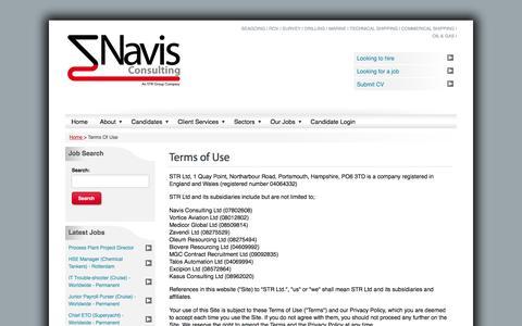 Screenshot of Terms Page navis-consulting.com - Terms Of Use | Maritime Experts | Navis Consulting - captured Feb. 24, 2016