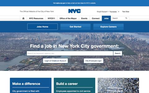 Screenshot of Jobs Page nyc.gov - Jobs Home | City of New York - captured Sept. 30, 2016
