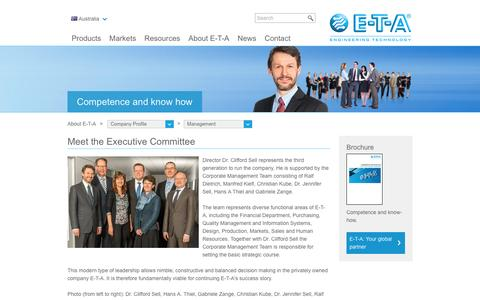 Screenshot of Team Page e-t-a.com.au - Meet the Executive Committee | E-T-A - captured Sept. 30, 2016