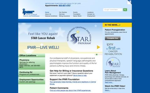 Screenshot of Home Page Menu Page ipmr.org - IPMR - captured Sept. 30, 2014
