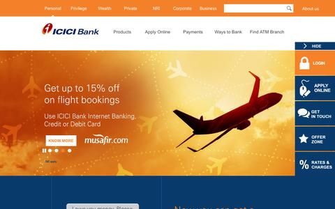 Screenshot of Home Page icicibank.com - Personal Banking, Online Banking Services - ICICI Bank - captured Sept. 27, 2016