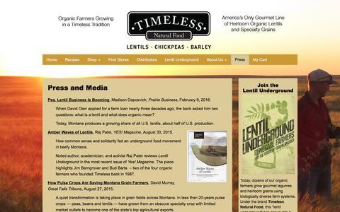 Screenshot of Press Page timelessfood.com - Press - Timeless Natural Food - captured Feb. 16, 2016