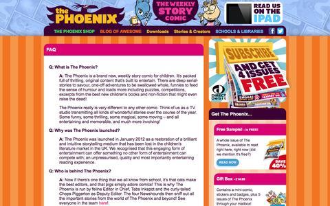 Screenshot of FAQ Page thephoenixcomic.co.uk - FAQ - The Phoenix Comic - captured Sept. 30, 2014