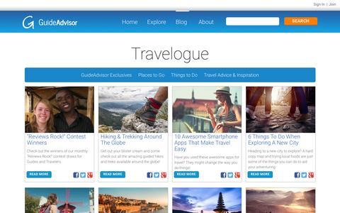 Screenshot of Blog guideadvisor.com - Guide Interviews, Travel Tips | GuideAdvisor - Travelogue - captured Dec. 15, 2015