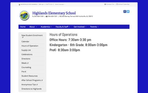Screenshot of Hours Page huntsvillecityschools.org - Hours of Operations | Highlands Elementary | Huntsville City Schools - captured Jan. 4, 2017