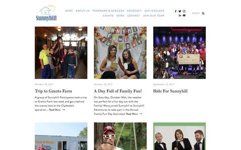 Screenshot of Press Page sunnyhillinc.org - Sunnyhill — News - captured Oct. 25, 2017