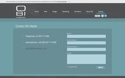 Screenshot of Contact Page obimedia.co.uk - Contact | Obi Media - captured Oct. 27, 2014