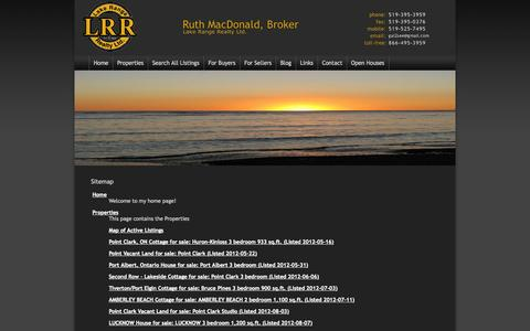 Screenshot of Site Map Page ourubertor.com - Ruth MacDonald, Broker, Point Clark real estate: Sitemap - captured Oct. 1, 2014