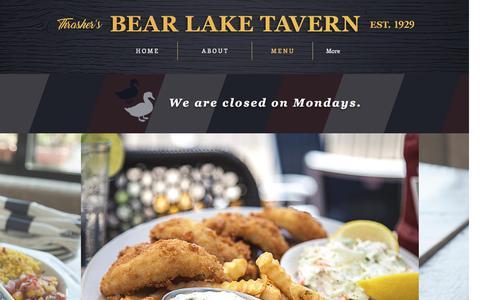 Screenshot of Menu Page bltmuskegon.com - Thrasher's Bear Lake Tavern | Menu - captured May 7, 2017