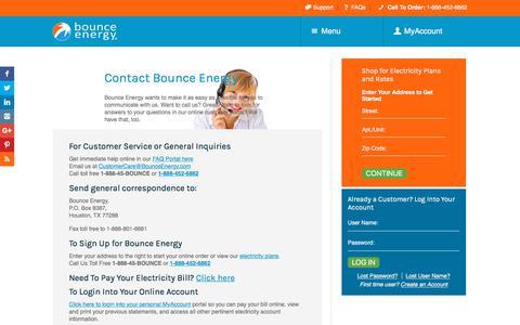 Screenshot of Contact Page bounceenergy.com - Bounce Energy Contact Information | Bounce Energy - captured April 24, 2018