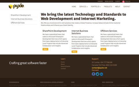 Screenshot of Services Page pyxle.net - Services | Pyxle Sri Lanka - captured Oct. 3, 2014