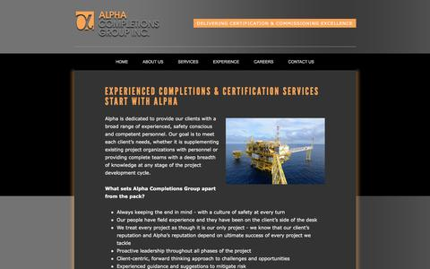 Screenshot of About Page alpha-cg.com - Completions and certification services by Alpha Completions Group - captured Feb. 5, 2016