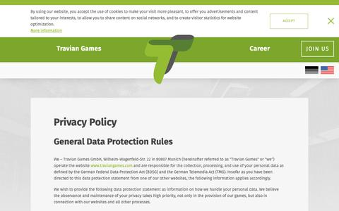 Screenshot of Privacy Page traviangames.com - Privacy Policy | Travian Games - captured Oct. 6, 2018