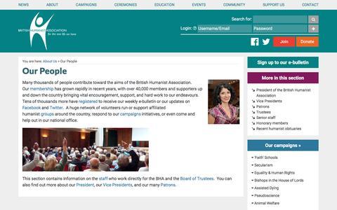 Screenshot of Team Page humanism.org.uk - Our People » British Humanist Association - captured Nov. 18, 2016