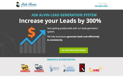 Screenshot of Landing Page ask-alvin.com - Ask Alvin Leads Generation System | Lead Generation Singapore - captured April 4, 2016