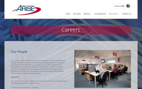 Screenshot of Jobs Page arise-europe.com - Careers | Arise - captured July 26, 2016