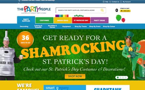 Screenshot of Home Page thepartypeople.com.au - Party Supplies | The Party People Shop - captured Feb. 12, 2016