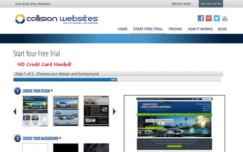 Screenshot of Trial Page collisionwebsites.com - Free Trial | Auto Body Shop Website | Collision Websites - captured Nov. 2, 2014