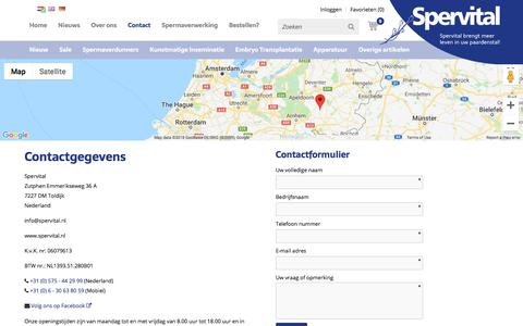 Screenshot of Contact Page spervital.nl - Contact | Spervital - captured Sept. 21, 2018