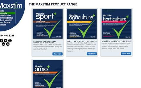 Screenshot of Products Page maxstim.com - The Maxstim Product Range - captured Oct. 27, 2014