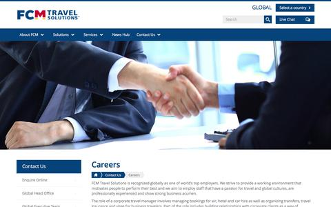 Screenshot of Jobs Page fcm.travel - Careers | FCM Travel Solutions - captured July 10, 2017