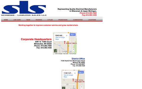 Screenshot of Locations Page schwindlawless.com - SCHWIND-LAWLESS SALES, LLC - captured Oct. 4, 2014