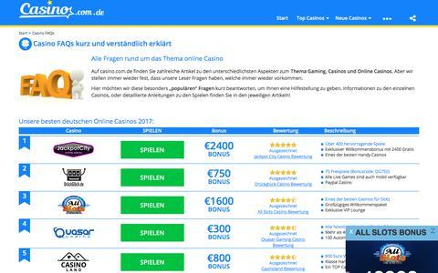 Screenshot of FAQ Page casino.com.de - Casino.com.de | FAQs - captured July 3, 2017
