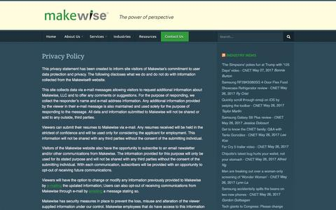 Screenshot of Privacy Page makewise.com - Privacy Policy | Makewise LLC - captured May 27, 2017