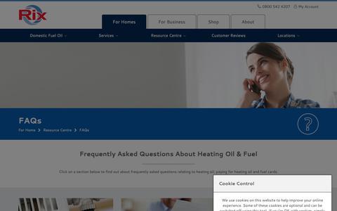 Screenshot of FAQ Page rix.co.uk - FAQs | Rix Petroleum - captured Sept. 28, 2018